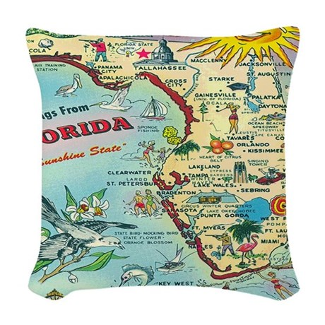 Vintage Florida Greetings Map Woven Throw Pillow