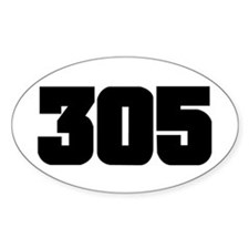 305 Black Slab Style Oval Decal