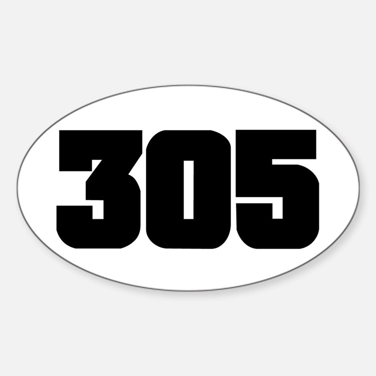 305 Black Slab Style Oval Decal