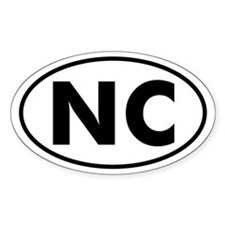 NC Oval Sticker (N. Carolina)