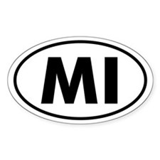 MI Oval Sticker (Michigan)