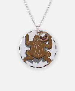 Baby Sloth Necklace Circle Charm