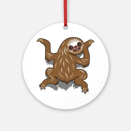 Baby Sloth Round Ornament