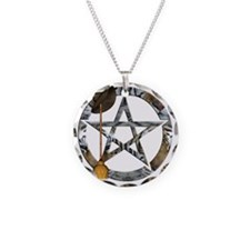 Wiccan Pentacle with Broom Necklace