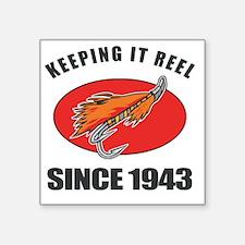 "1943 Birthday Fishing Square Sticker 3"" x 3"""
