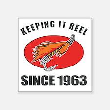 "1963 Birthday Fishing Square Sticker 3"" x 3"""