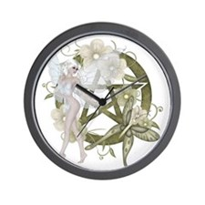 Wiccan Pentacle Beautiful Fairy Wall Clock