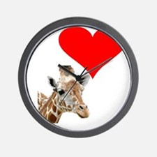 i love giraffe Wall Clock