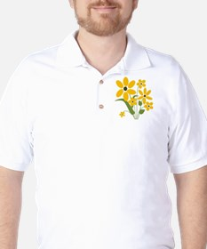 Summer Yellow Flowers Golf Shirt