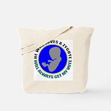 zygote vote whte Tote Bag