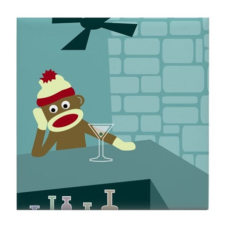 Sock Monkey Martini Bar Tile Coaster