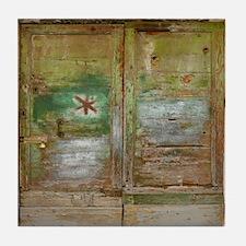 Rustic Green Wood Doors Tile Coaster