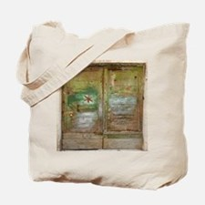 Rustic Green Wood Doors Tote Bag