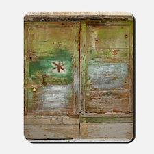 Rustic Green Wood Doors Mousepad