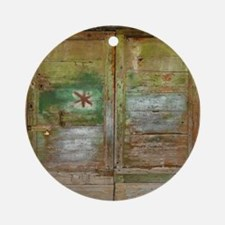 Rustic Green Wood Doors Round Ornament