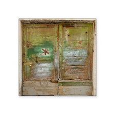 "Rustic Green Wood Doors Square Sticker 3"" x 3"""