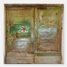 "Rustic Green Wood Doors Square Car Magnet 3"" x 3"""