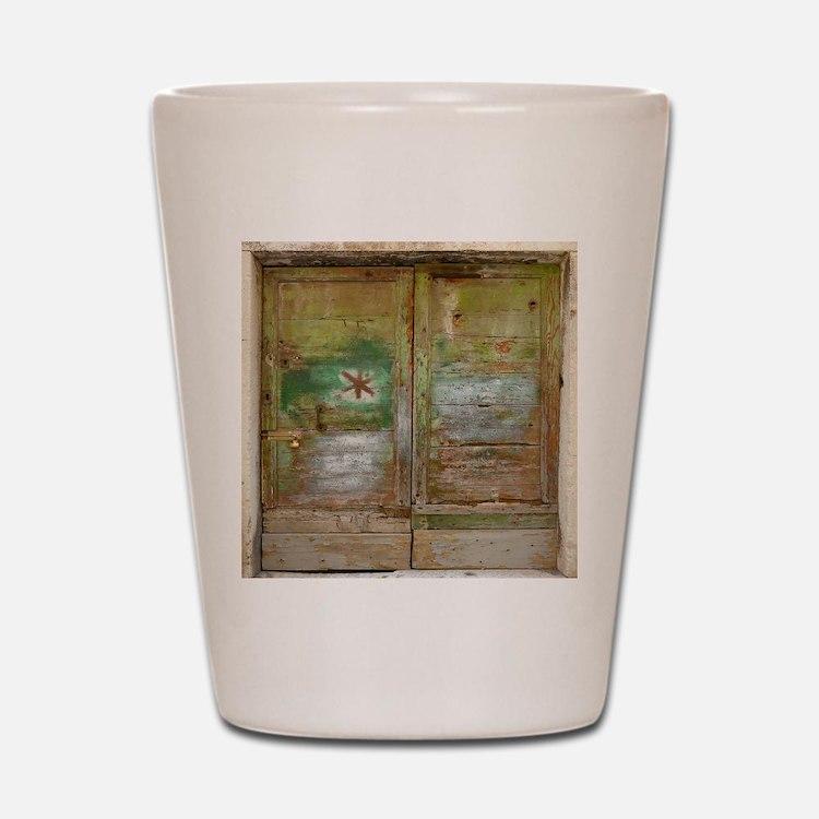 Rustic Green Wood Doors Shot Glass