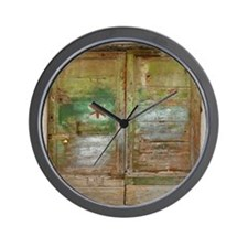 Rustic Green Wood Doors Wall Clock