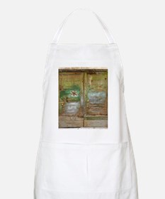 Rustic Green Wood Doors Apron