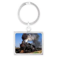 Antique steam engine train Landscape Keychain