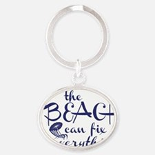 The Beach Can Fix Everything Oval Keychain