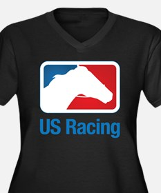 US Racing -  Women's Plus Size Dark V-Neck T-Shirt