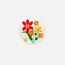 Red Orange and Yellow Summer Flowers Mini Button