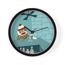 Sock Monkey Martini Bar Wall Clock