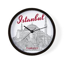 Istanbul_10x10_HagiaSophia_v3_BlackRed Wall Clock