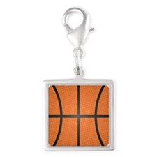 Basketball Pattern Silver Square Charm