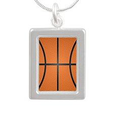 Basketball Pattern Silver Portrait Necklace