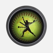 iPitch Fastpitch Softball (right handed) Wall Cloc