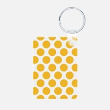 Sunny Yellow Polkadot Aluminum Photo Keychain