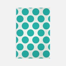Turquoise Polkadot Rectangle Magnet