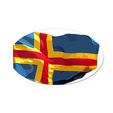 Flag of Åland waving Oval Car Magnet