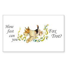 Fox Terrier Frolic Rectangle Decal