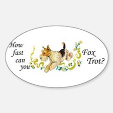 Fox Terrier Frolic Oval Decal