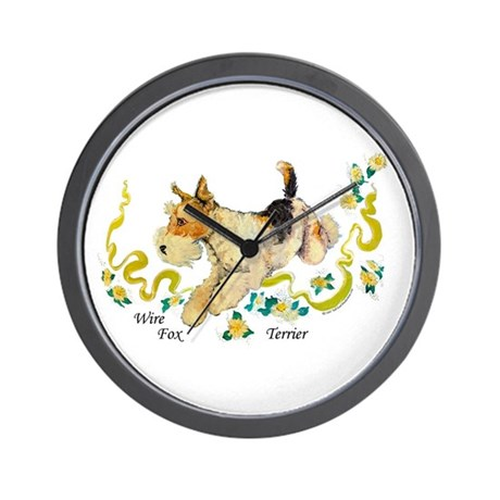 Fox Terrier Frolic Wall Clock