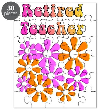 Retired Teacher retro flowers 1 Puzzle