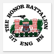 "Honor Battalion Logo Square Car Magnet 3"" x 3"""
