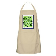 Blue and lime Green Alef Bet Poster Apron