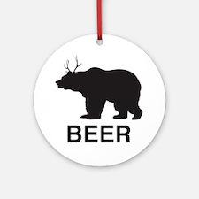 Beer. Bear with Deer Antlers Round Ornament