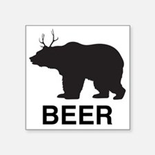 "Beer. Bear with Deer Antler Square Sticker 3"" x 3"""