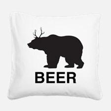 Beer. Bear with Deer Antlers Square Canvas Pillow