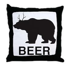 Beer. Bear with Deer Antlers Throw Pillow
