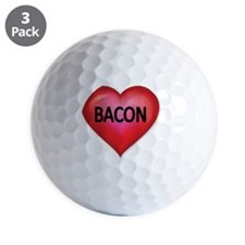 Red heart with BACON Golf Ball