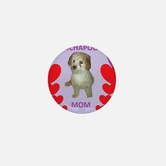 BICHAPOO MOM w/HEARTS Mini Button