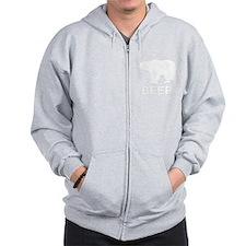 Beer. Bear with Deer Antlers Zip Hoodie