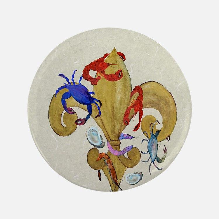 """Cajun fleur de lis 3.5"""" Button"""
